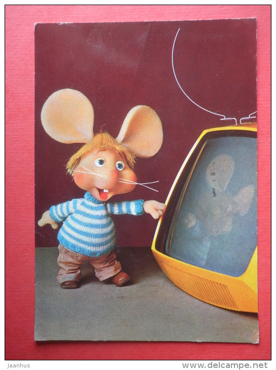 Topo Gigio - puppet show - mouse - TV - mushroom - 989 - Italy - sent from Finland Turku to Estonia USSR 1980 - JH Postcards
