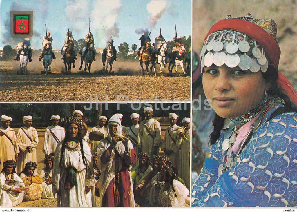Typical Morocco - Morocco Folk Costumes - horse - 1993 - Morocco - used - JH Postcards