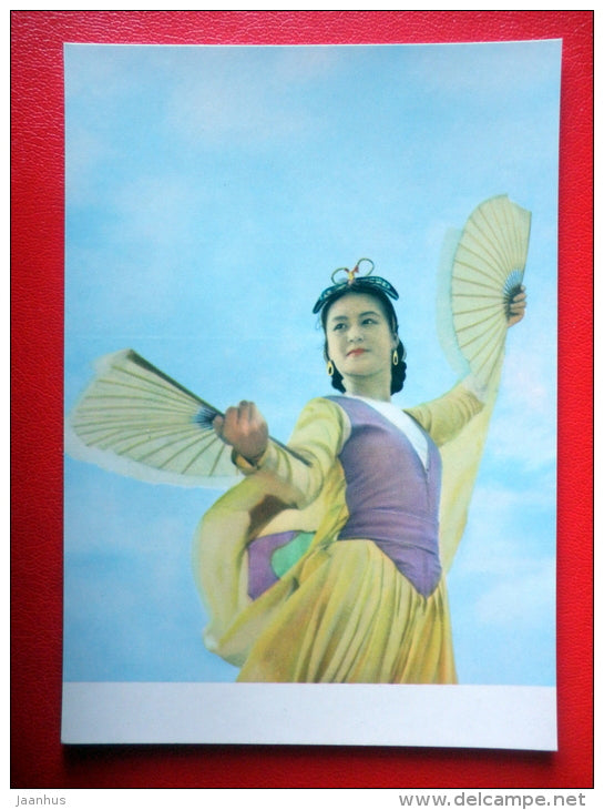 Butterfly Dance , 2 - Vietnamese Folk Dance - folk costumes - old postcard - Vietnam - unused - JH Postcards