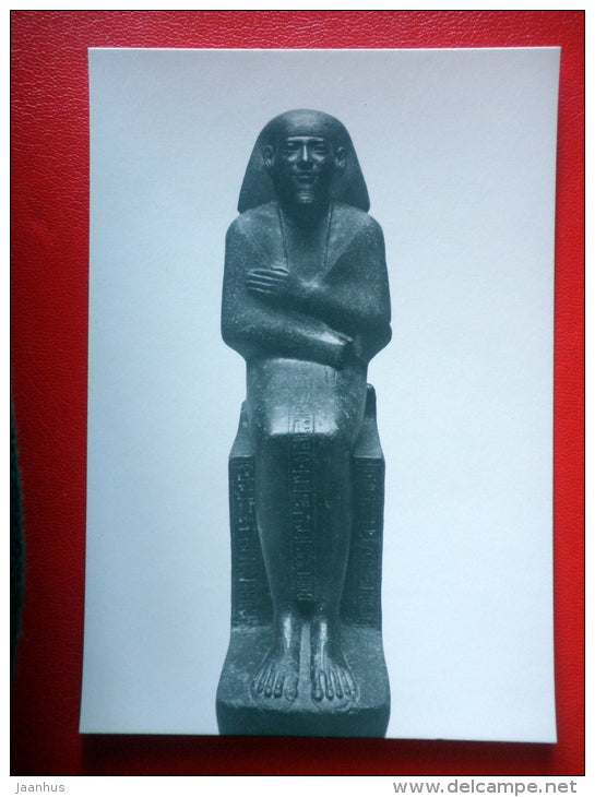 Priest Montemhet , 660 BC - Sculptures of Ancient Egypt - old postcard - Germany DDR - unused - JH Postcards