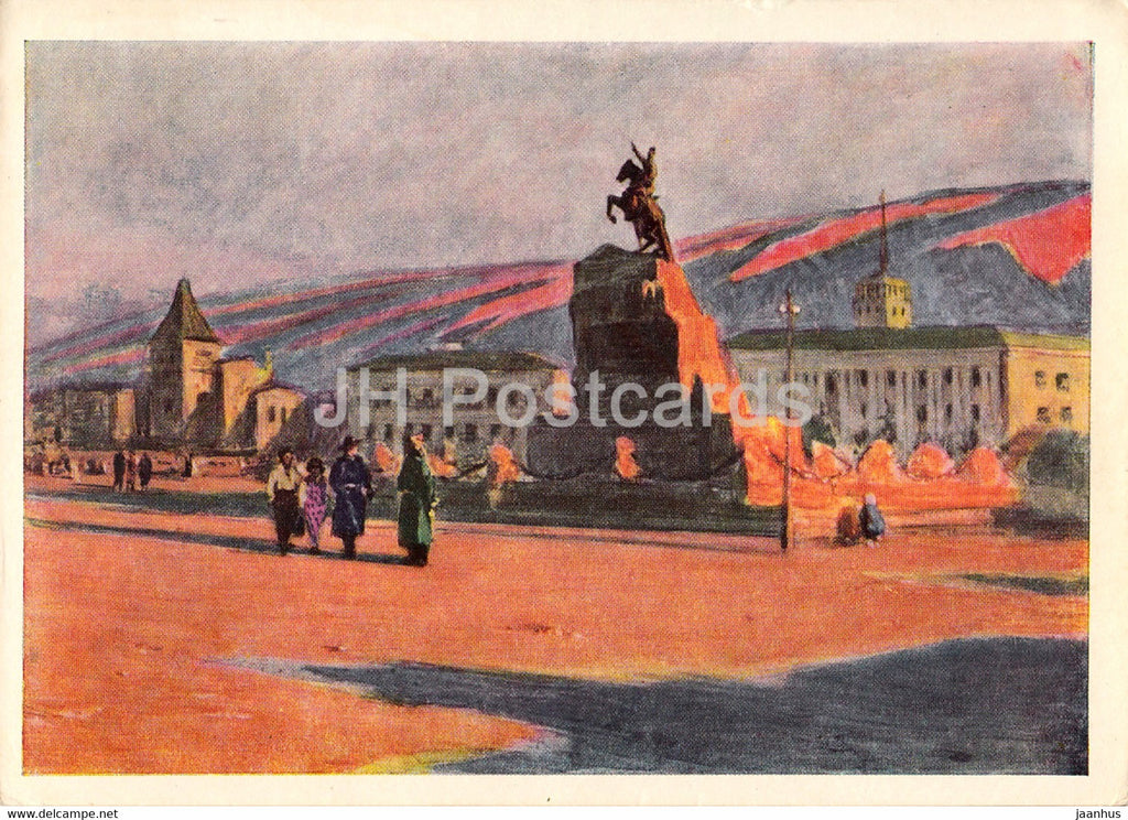 painting by A. Stroganov - Ulan Ude - Sukhe Batora square - Mongolian art - 1966 - Russia USSR - unused - JH Postcards