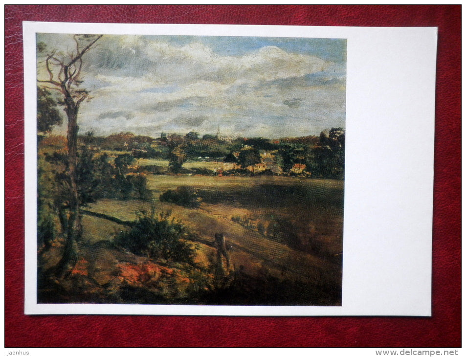 painting by J. Constable - View of Highgate from Hampstead Heath , 1834 - english art - unused - JH Postcards
