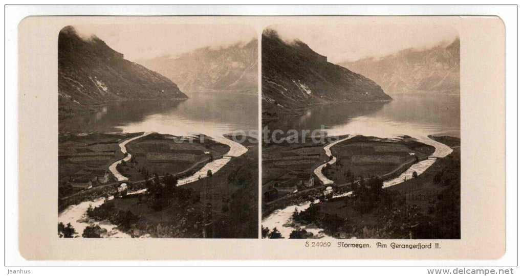 Gerangerfjord II - Norway - stereo photo - stereoscopique - old photo - JH Postcards