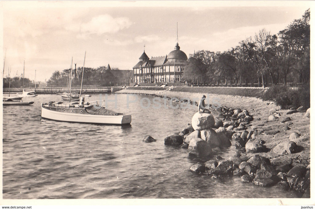 Copenhagen - The Yacht Pavilion and the little Sea Nymph Langelinie - boat - old postcard - 1938 - Denmark - used - JH Postcards