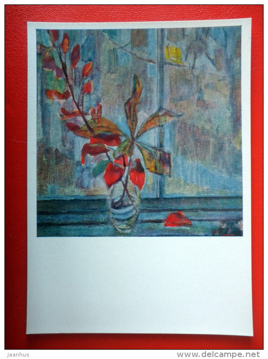 painting by A. Stepanov . Still Life . Autumn , 1963 - kazakhstan art  - unused - JH Postcards