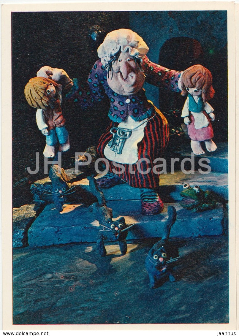 Hansel and Gretel by Brothers Grimm - witch - cats - dolls - Fairy Tale - 1975 - Russia USSR - unused - JH Postcards
