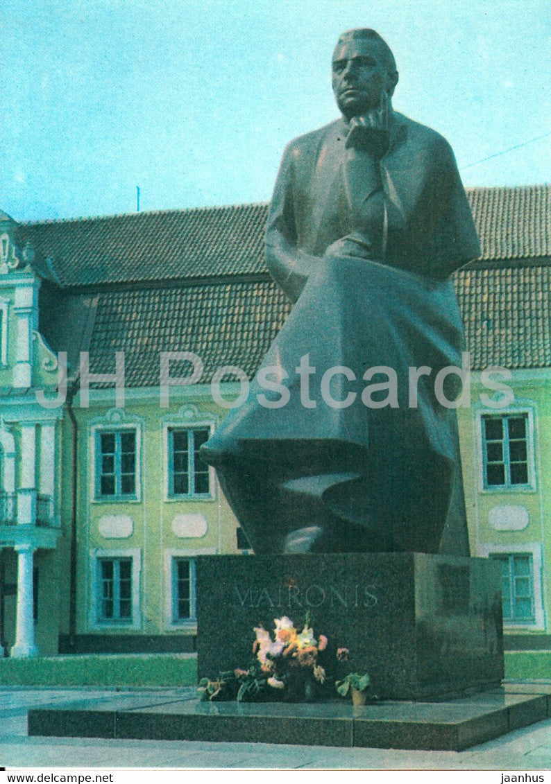Kaunas - monument to Lithuanian writer Maironis - 1982 - Lithuania USSR - unused - JH Postcards