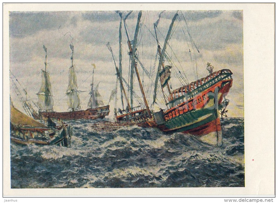painting by E. Lanceray - Sailing Ships of Peter the Great Era , 1911 - sea - Russian art - 1966 - Russia USSR - unused - JH Postcards