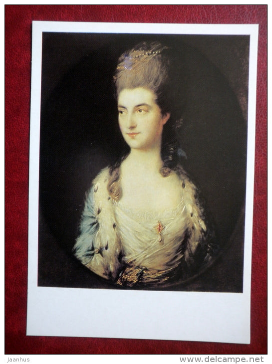 painting by Thomas Gainsborough - Portrait of Miss Sparrow - english art - unused - JH Postcards