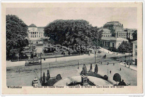 Kurhaus mit Staats-Theater - Cure-house with theatre - tram - Wiesbaden - 1407 - Germany - old postcard - unused - JH Postcards