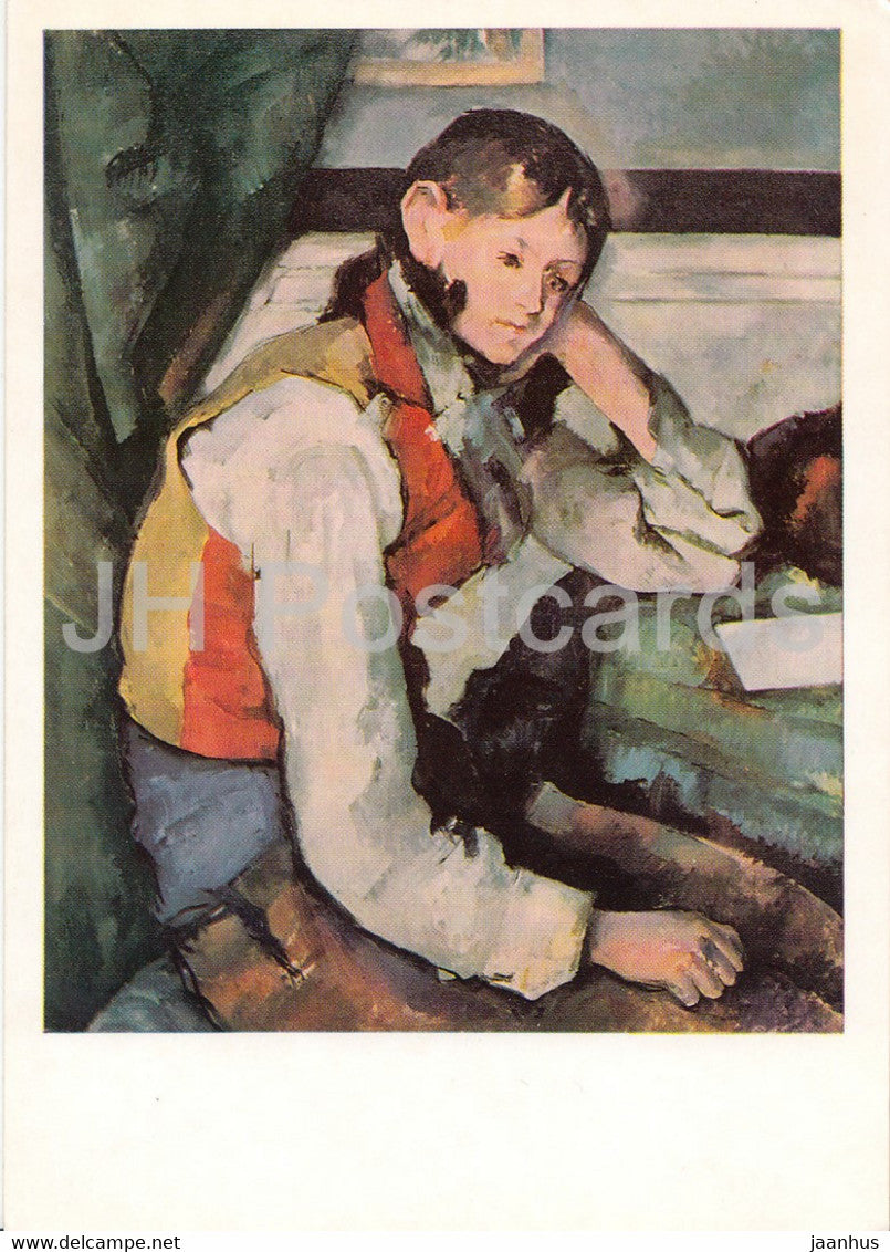 painting by Paul Cezanne - Der Knabe mit der roten Weste - The boy with red vest - French art - Germany DDR - unused - JH Postcards