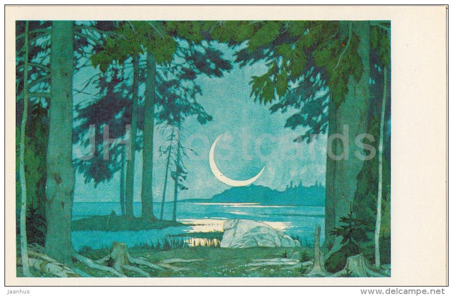 Night of the shore of lake Ilmen - opera Sadko - Design by Bilibin - 1982 - Russia USSR - unused - JH Postcards