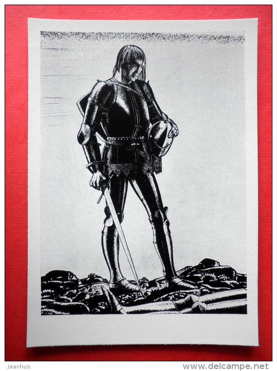 illustration by Rockwell Kent - Henry IV by W. Shakespeare . 1936 - knight`s armor - art of USA - unused - JH Postcards