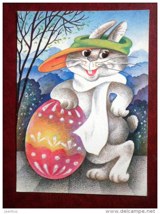 Easter Greeting card - by Ü. Meister - hare - egg - 1990 - Estonia USSR - used - JH Postcards