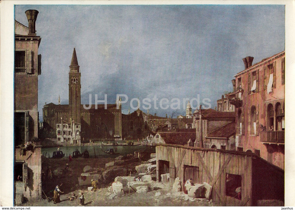 painting by Canaletto - Venice - Campo S. Vidal and S. Maria della Carita - Italian art - England - unused - JH Postcards