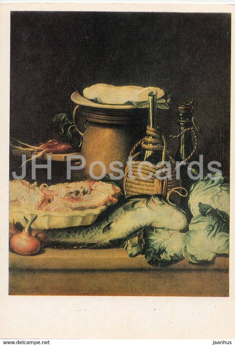 painting by Unknown Artist - Still Life - fish - onion - meat - cabbage - Dutch art - 1985 - Russia USSR - unused - JH Postcards
