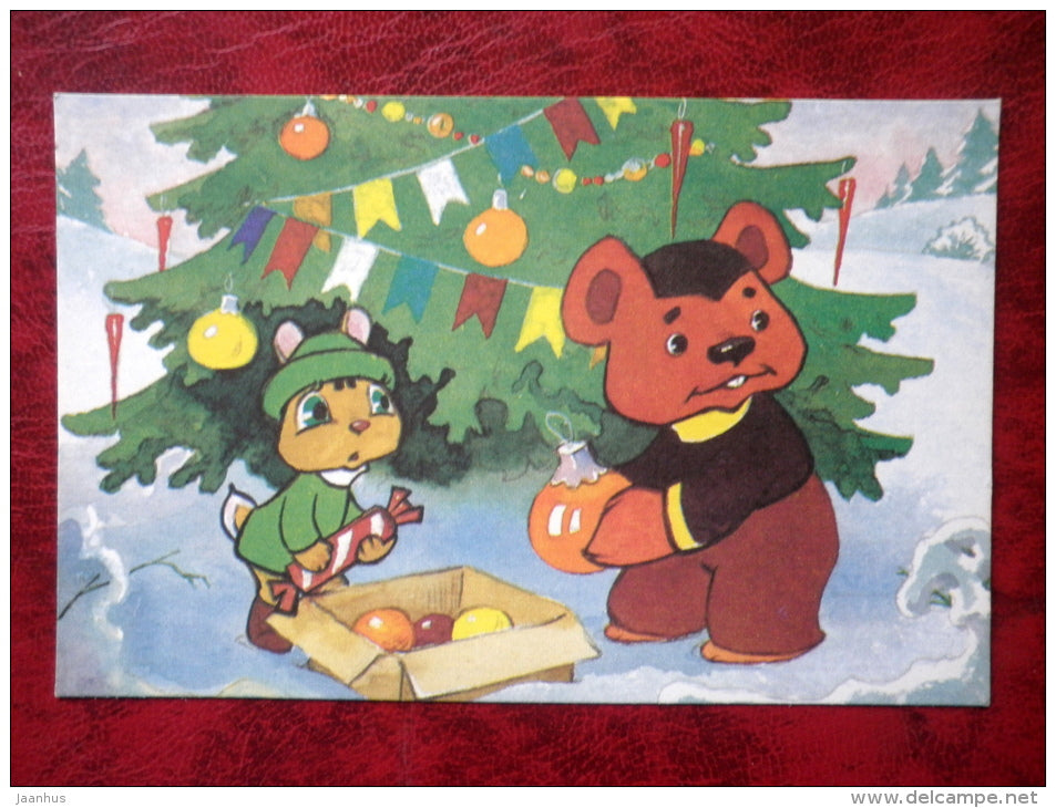 Come and Visit by L. L. Kayukov,  cartoon cards - hare - bear - christmas tree - 1988 - Russia - USSR - unused - JH Postcards