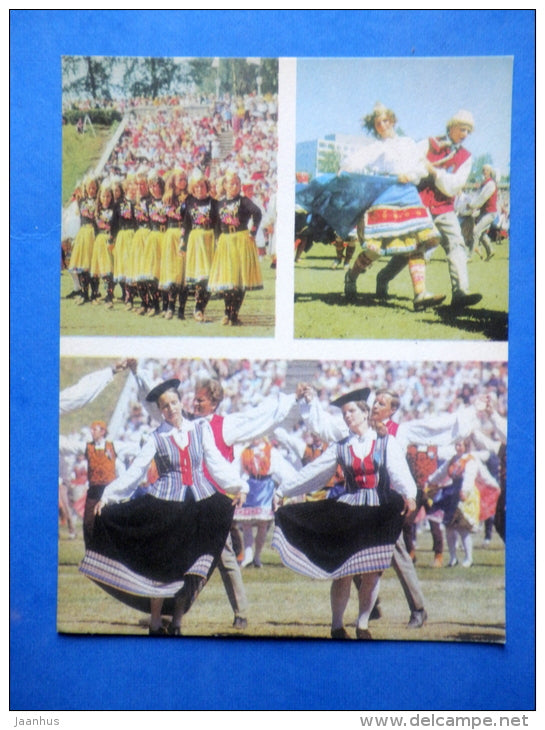 Estonian folk dancers 2 - folk costumes - dance festival - large format card - 1975 - Estonia USSR - unused - JH Postcards