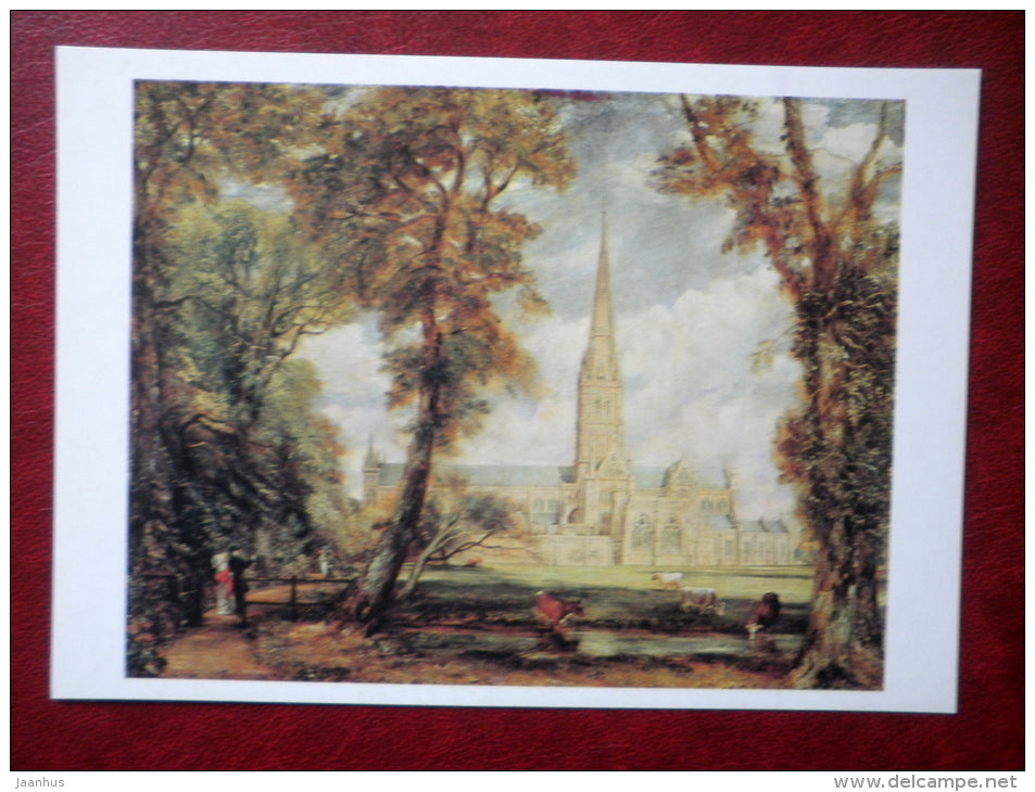 painting by John Constable - Salisbury Cathedral - english art - unused - JH Postcards