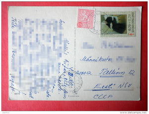 illustration by Sarah Kay - girl on telephone - 3807/6 - Finland - sent from Finland Turku to Estonia USSR 1980 - JH Postcards
