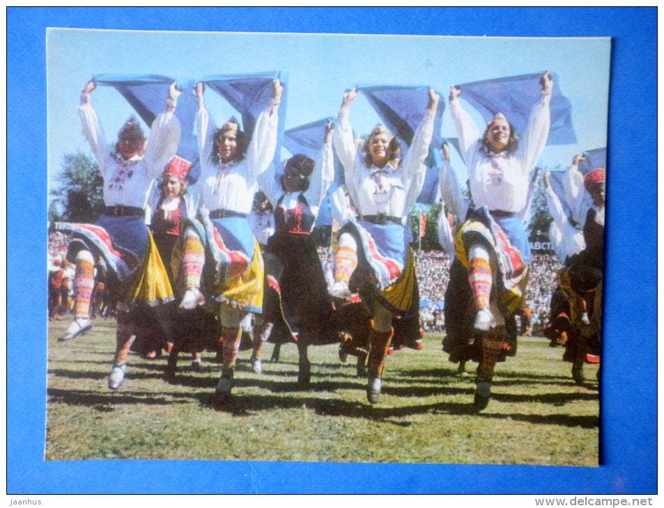 Estonian folk dancers 3 - folk costumes - dance festival - large format card - 1975 - Estonia USSR - unused - JH Postcards