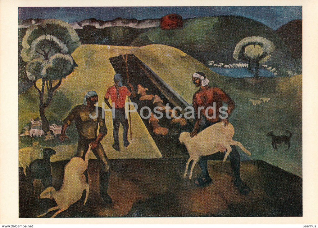 painting by A. Sydykhanov - Bathing sheep - Kazakhstan art - 1974 - Russia USSR - unused