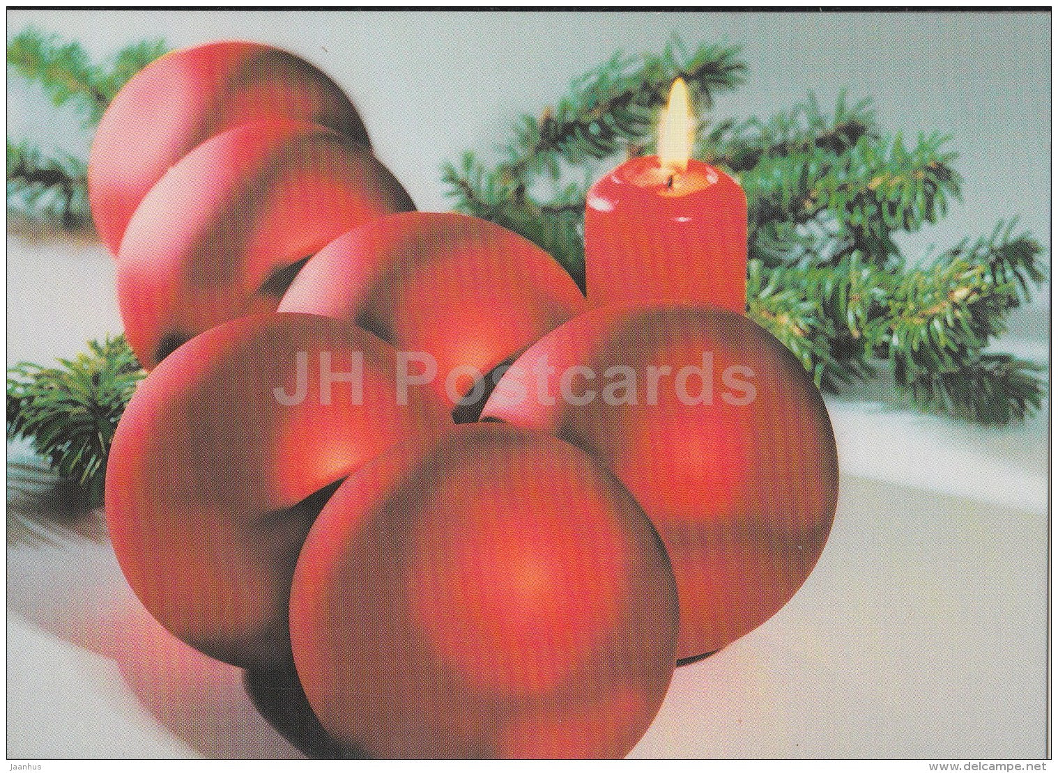 Christmas Greeting Card - decoration - candle - Estonia - used in 1998 - JH Postcards