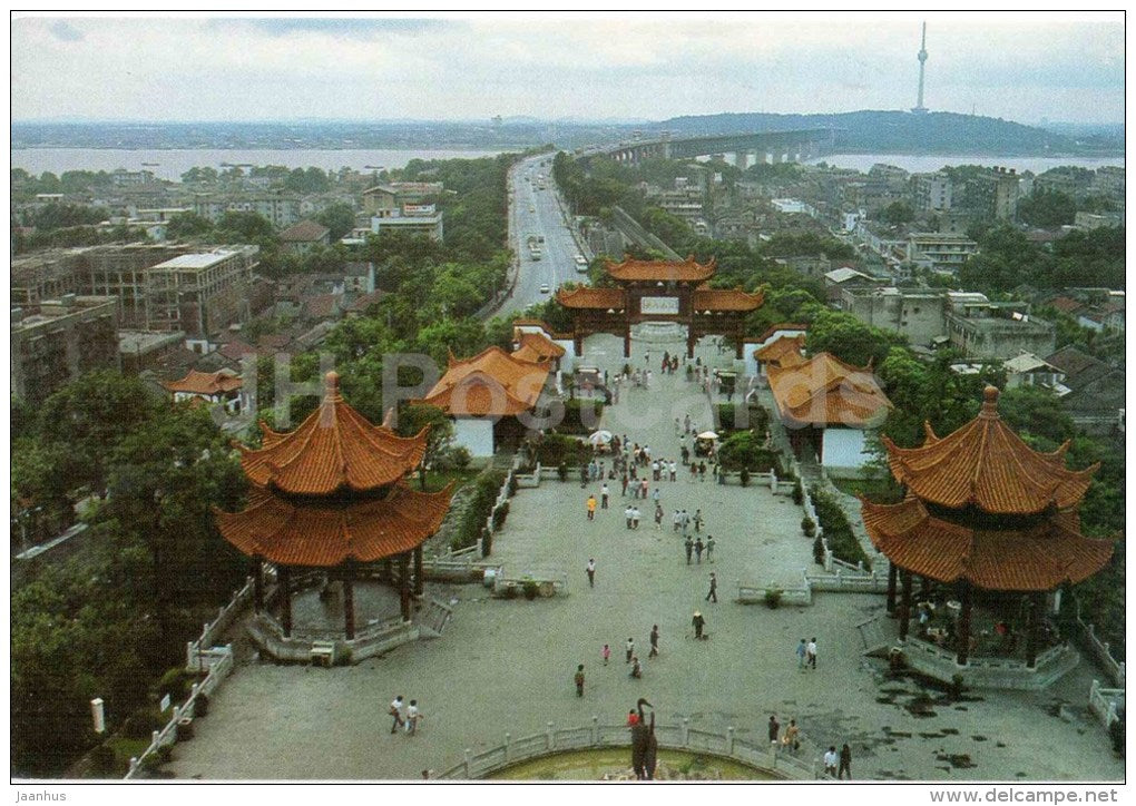 view from in front of Yellow Crane tower - The Yellow Crane Tower - Wuhan - 1980s - China - unused - JH Postcards