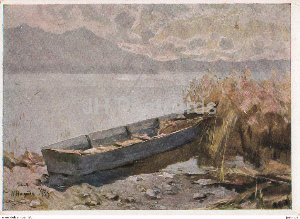 painting by Albert Stagura - Am Chiemsee - boat - German art - Germany - used - JH Postcards