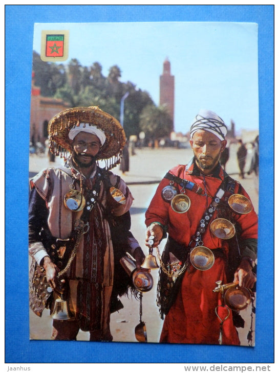 Water Carriers - Typical Morocco - bells - sent from Morocco to Estonia USSR 1983 , Tallinn - Morocco - used - JH Postcards