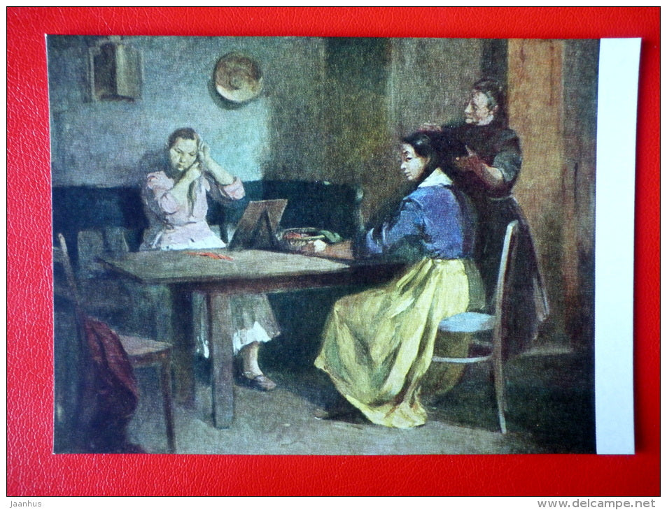 painting by E. Domanovszki . Preparation - women - hungarian art - unused - JH Postcards