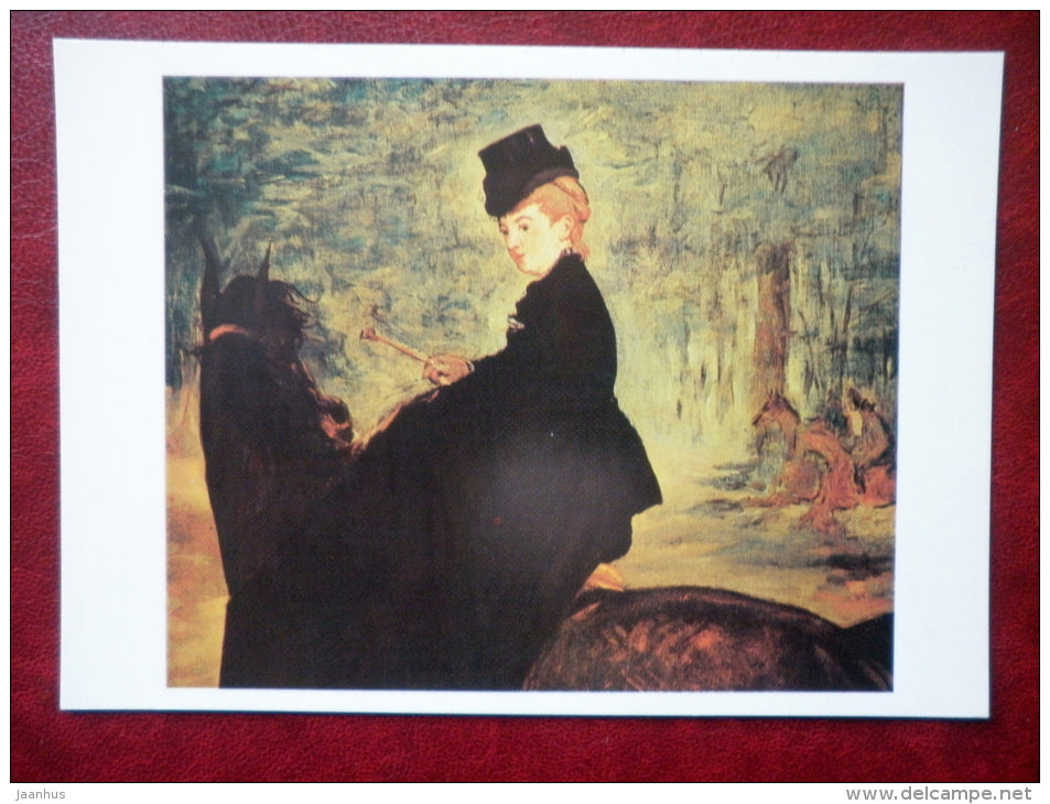 painting by Édouard Manet - Horsewoman , 1875 - horse - french art - unused - JH Postcards