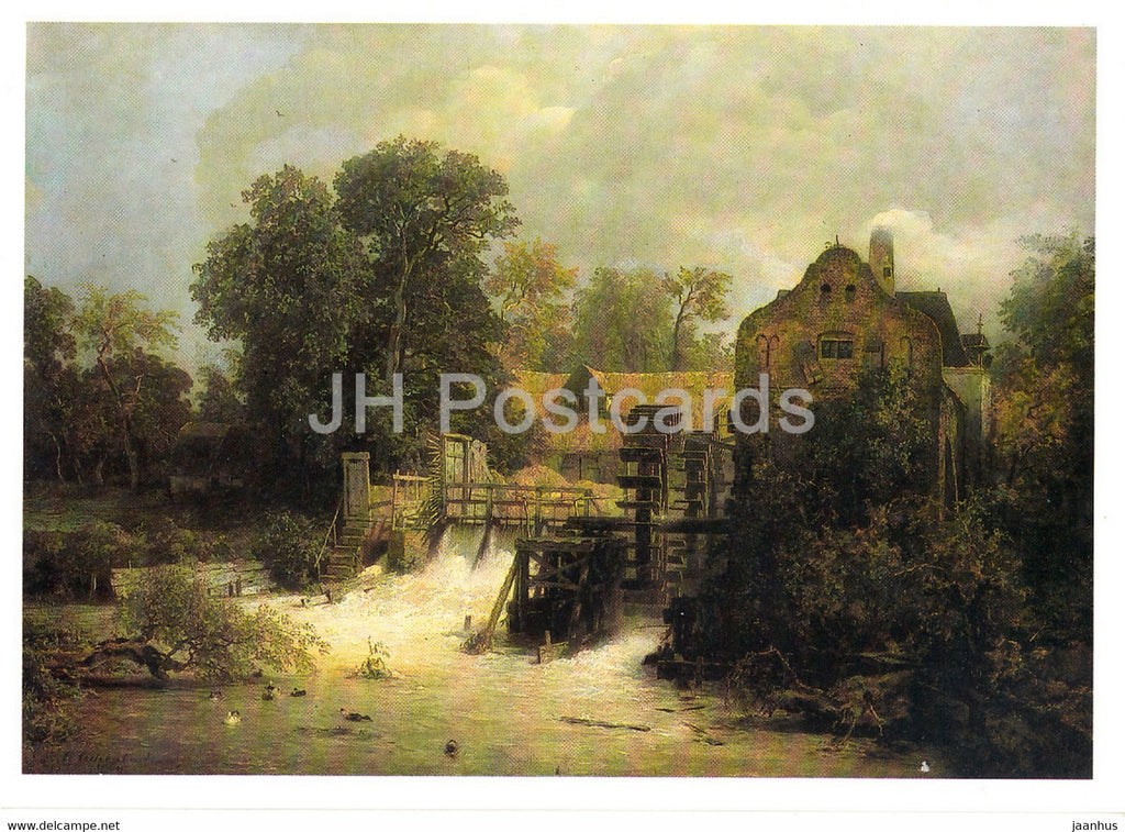painting by Andreas Achenbach - Westfalische Muhle - watermill - German art - Germany DDR - unused - JH Postcards