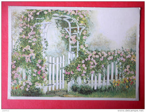 illustration - wooden fence - gate - flowers - Relander 4584/8 - Finland - sent from Finland Turku to Estonia USSR 1983 - JH Postcards