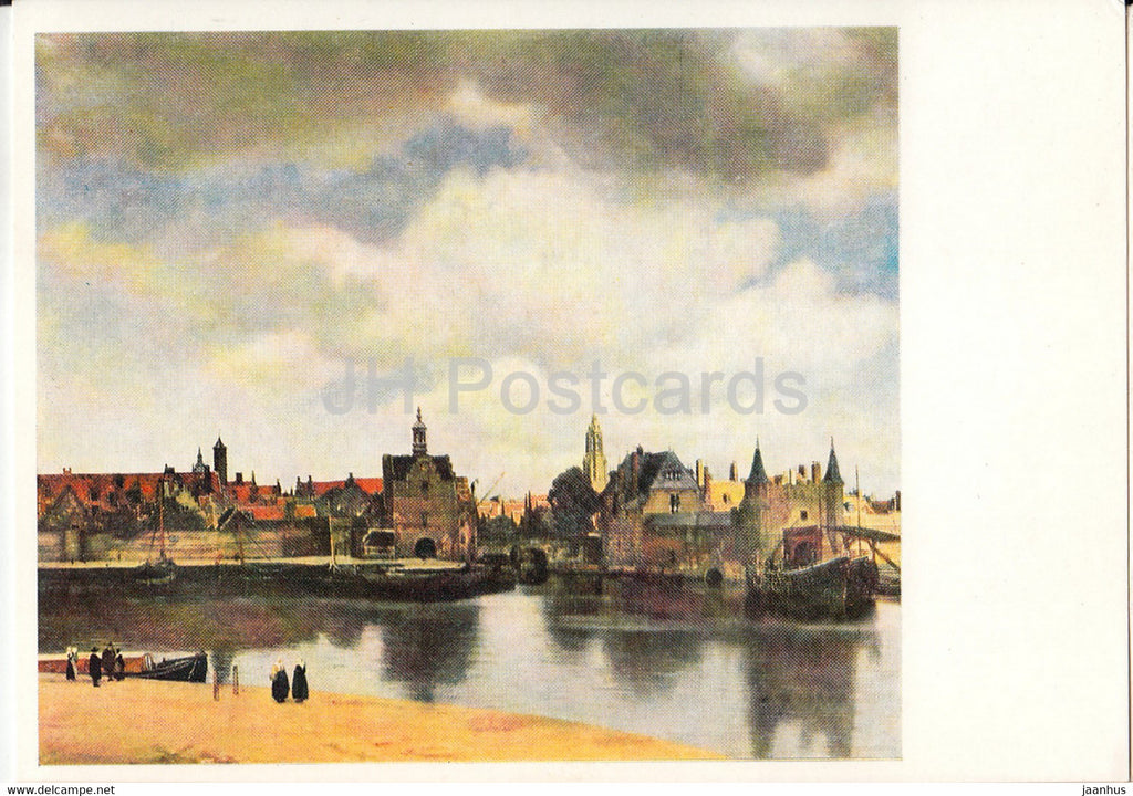 painting by Vermeer van Delft - Ansicht der Stadt Delft - Dutch art - Germany DDR - unused - JH Postcards
