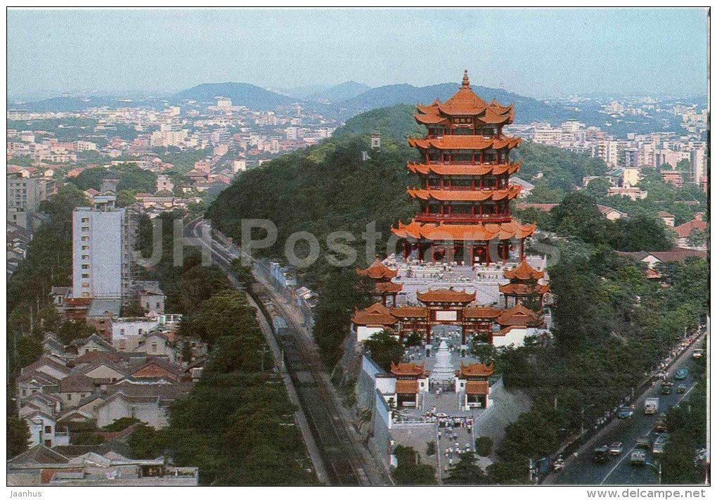 Bird´s Eye View of Yellow Crane Tower - The Yellow Crane Tower - Wuhan - 1980s - China - unused - JH Postcards