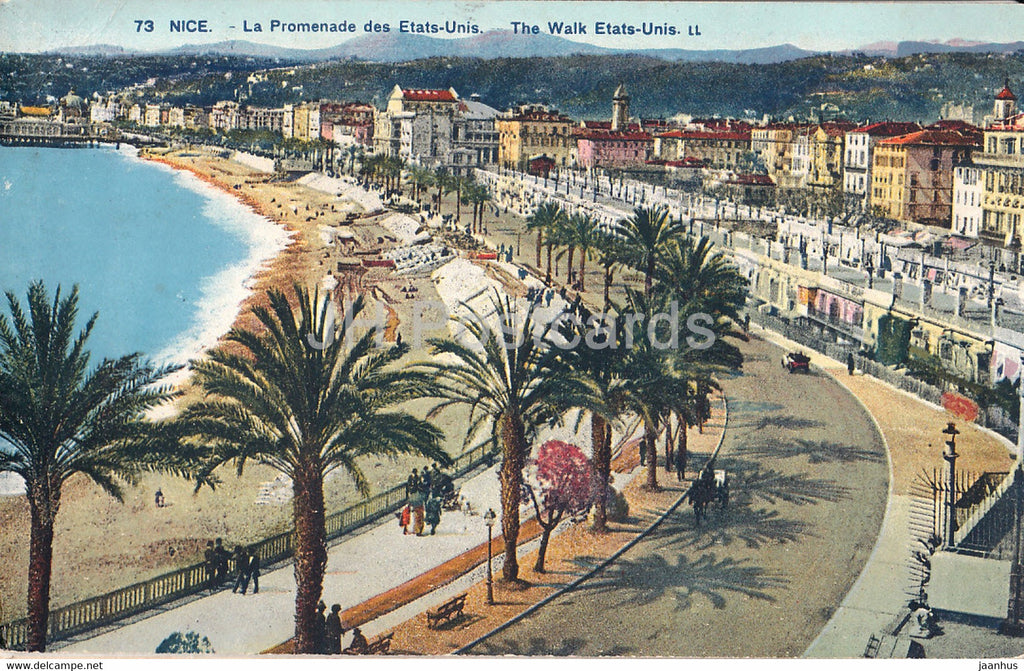 Nice - La Promenade des Etats Unis - The Walk Etats Unis - 73 - old postcard - 1926 - France - used - JH Postcards