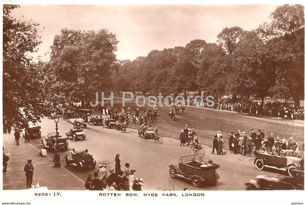 London - Rotten Row - Hyde Park - old car - 92091 - old postcard - England - United Kingdom - unused - JH Postcards