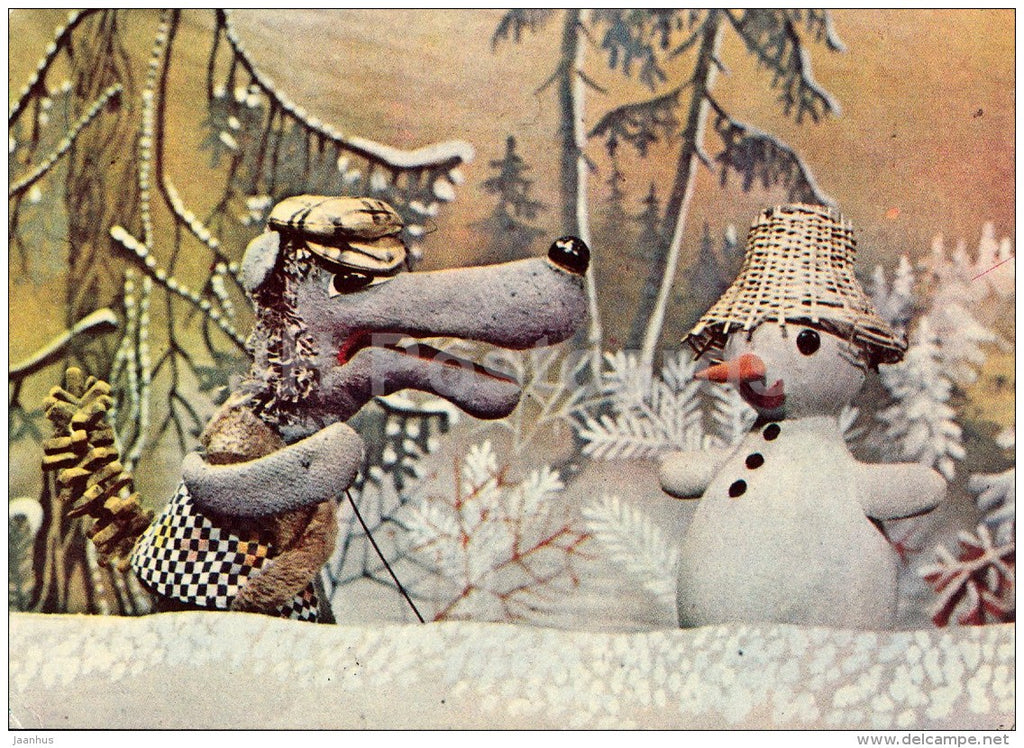 New Year Greeting card - 2 - puppetry - snowman - wolf - 1978 - Estonia USSR - unused - JH Postcards