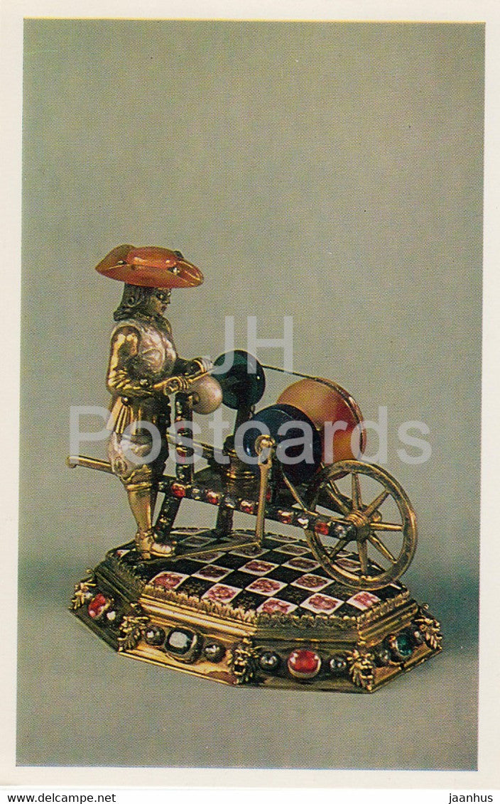 Jewels - Silver-gilt Knife-grinder - Germany 18th Century - The Hermitage - Leningrad - Russia - USSR - 1982 - used - JH Postcards