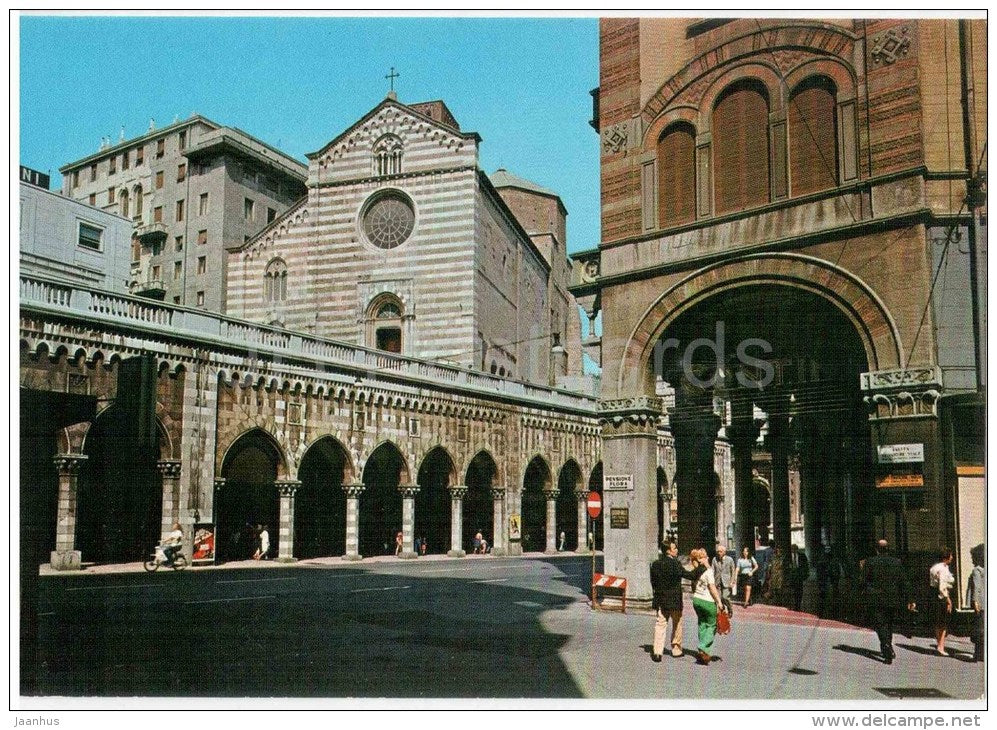 Via XX Settembre e Chiesa S. Stefano - church - Genoa - Genova - 58573 - Italia - Italy - unused - JH Postcards