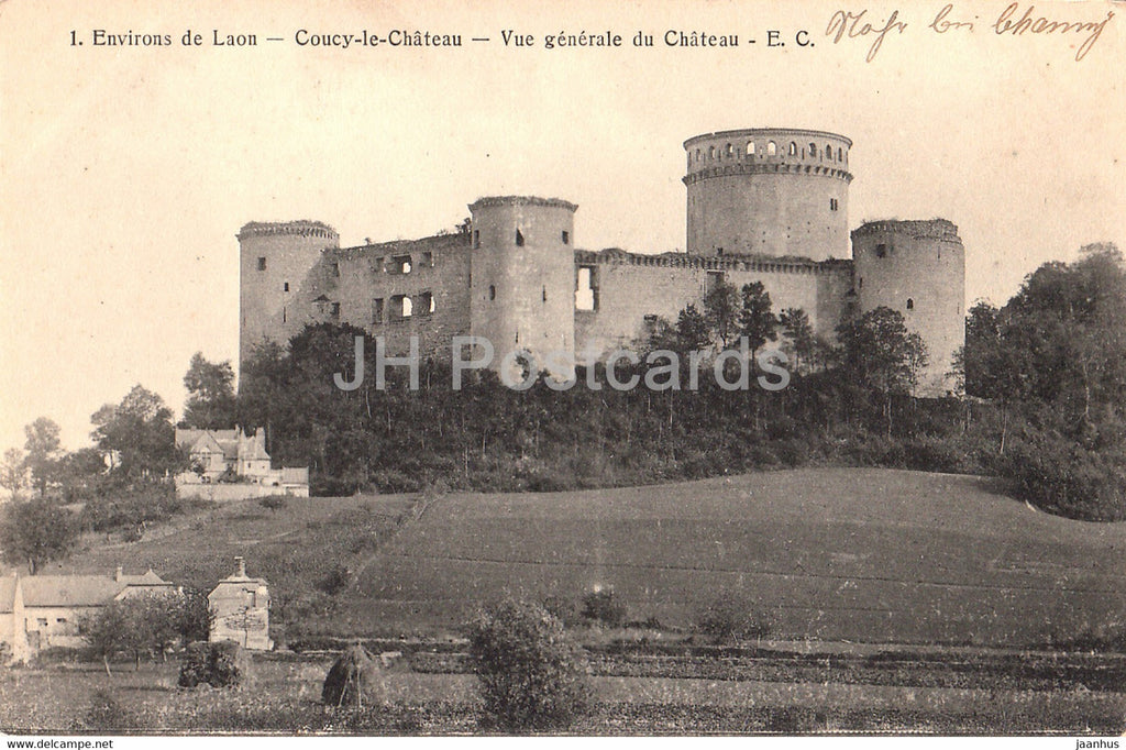 Environs de Laon - Coucy le Chateau - Vue Generale du Chateau - castle - 1 - old postcard - France - used - JH Postcards