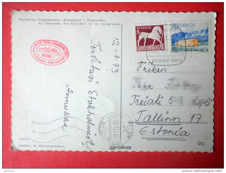 air panorama - the city hall - Stockholm - Sea Mail - Bore I - 130/317 - Sweden - sent from Sweden to Estonia USSR 1973 - JH Postcards