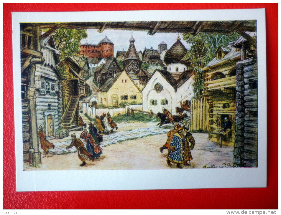 painting by A. Vasnetsov . Design for Tchaikovsky opera The Oprichnik - State Theatre Museum in Moscow - unused - JH Postcards