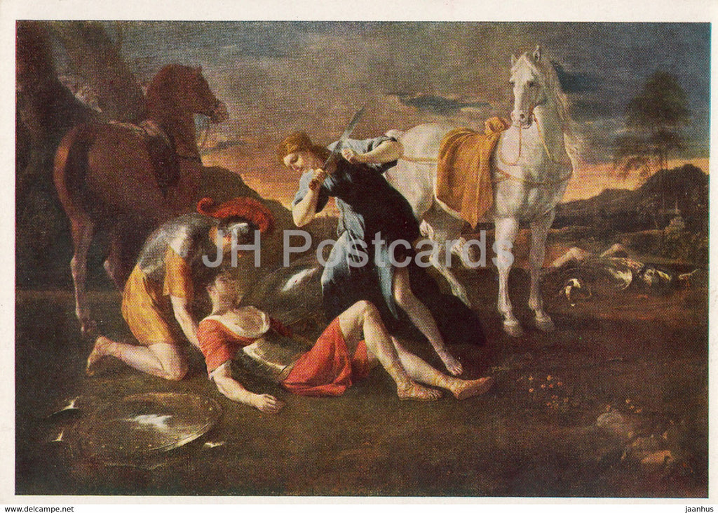 painting by Nicolas Poussin - Tancred and Hermine - horse - French art - 1966 - Russia USSR - unused - JH Postcards