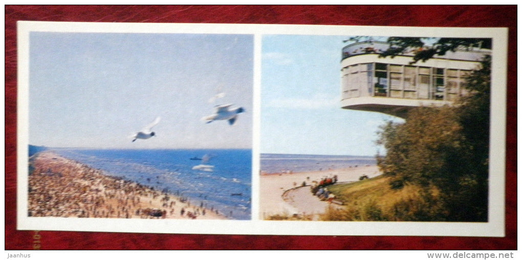 restaurant Juras Perle - beach - seagulls - birds - Jurmala - 1980 - Latvia USSR - unused - JH Postcards