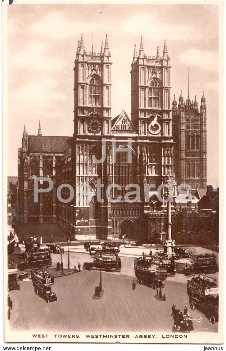 London - West Towers - Westminster Abbey - old bus - 17802 - old postcard - England - United Kingdom - unused - JH Postcards