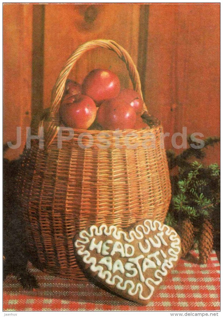 New Year greeting card - basket with apples - gingerbread - fir cones - 1976 - Estonia USSR - unused - JH Postcards
