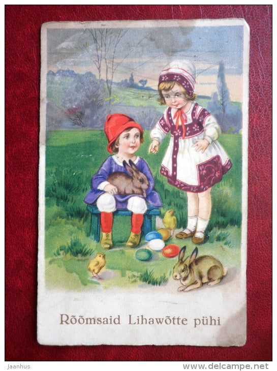 Easter Greeting Card - boy and girl - hare - chicken - EAS 1164 - circulated in 1929 - Estonia - used - JH Postcards