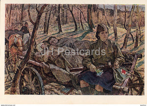 Guarding the World - painting by A. Safargalin - Nurse - horse carriage - military - art - 1965 - Russia USSR - unused - JH Postcards